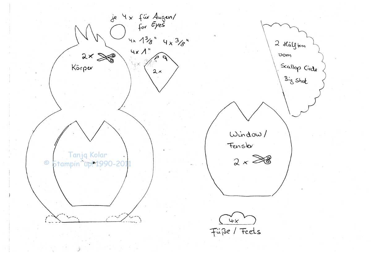Kostenlose vorlage f r die eule und den raben pinguin free template for owln and rave penguin - Pinguin basteln vorlage ...
